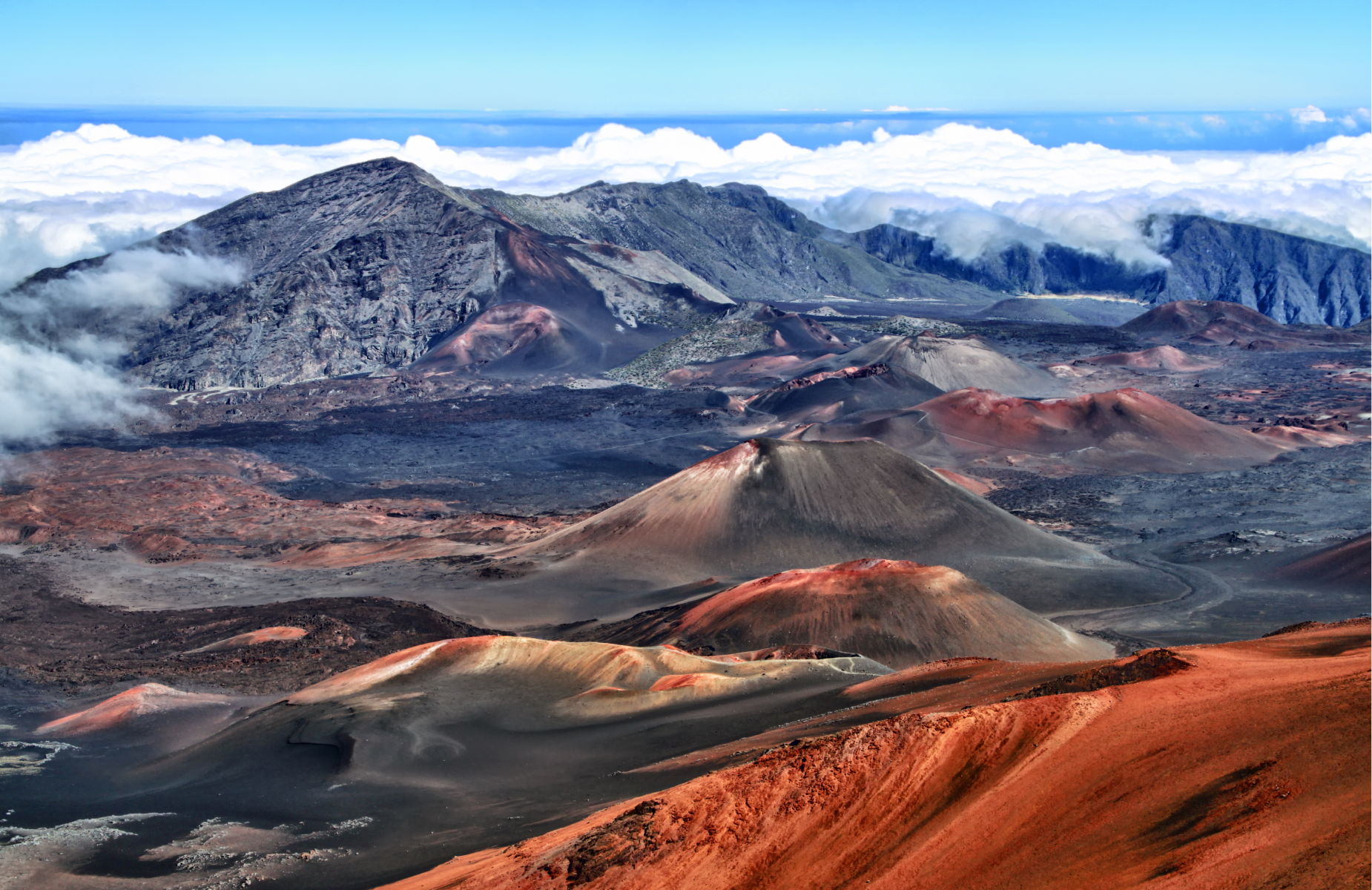 Panoramic view of Haleakala Volcano in Haleakala National Park, Maui